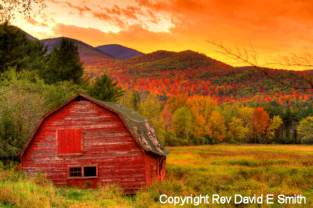 Fall Color at Sunset in Adirondack High peaks